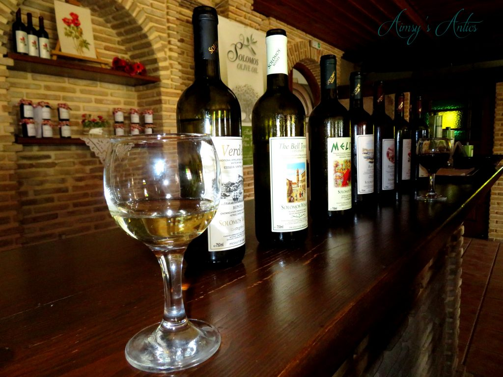 Bottles of wine for tasting at Solomos Winery