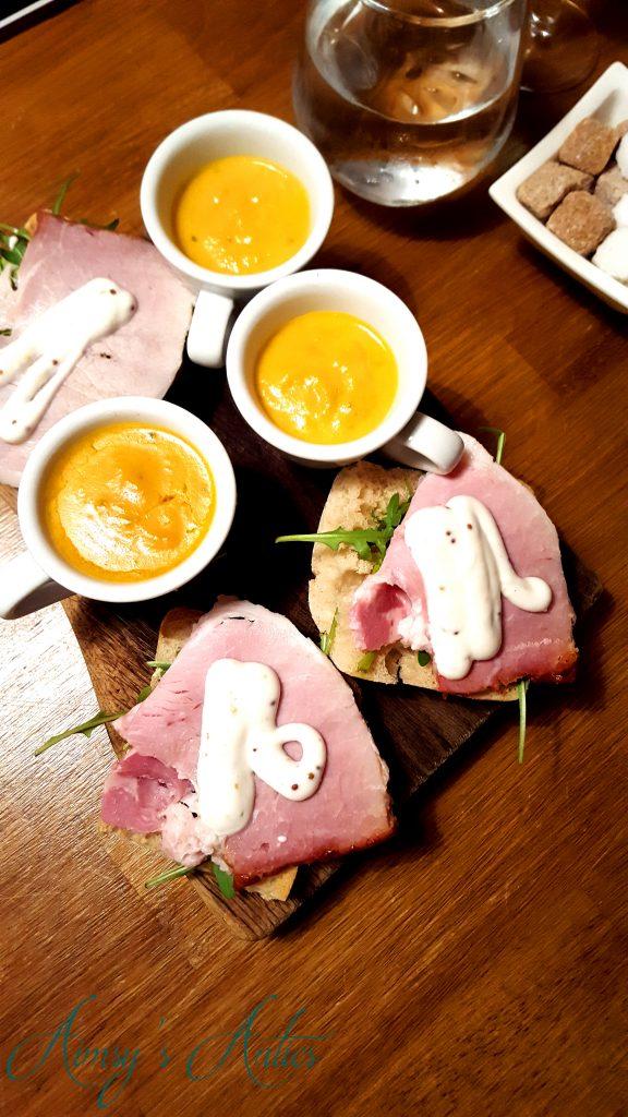 Soup and ham ciabatta