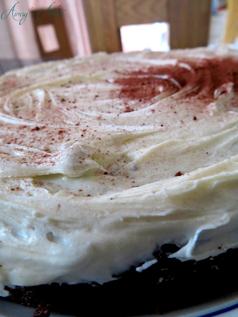 Beetroot and white chocolate cake with vanilla frosting