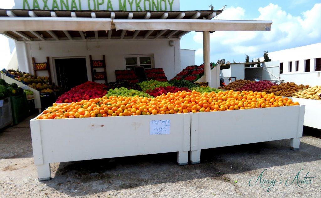 Fruit and veg stall Mykonos