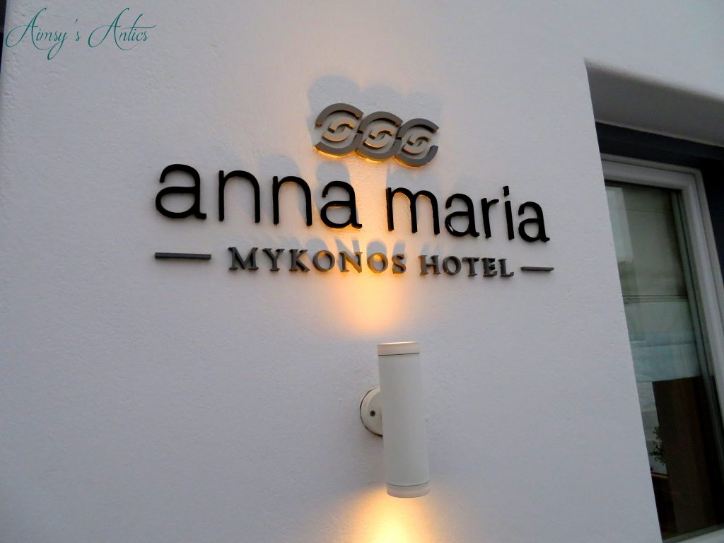 Anna Maria Hotel Mykonos sign