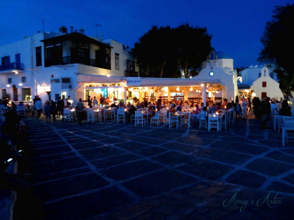 Mykonos at night