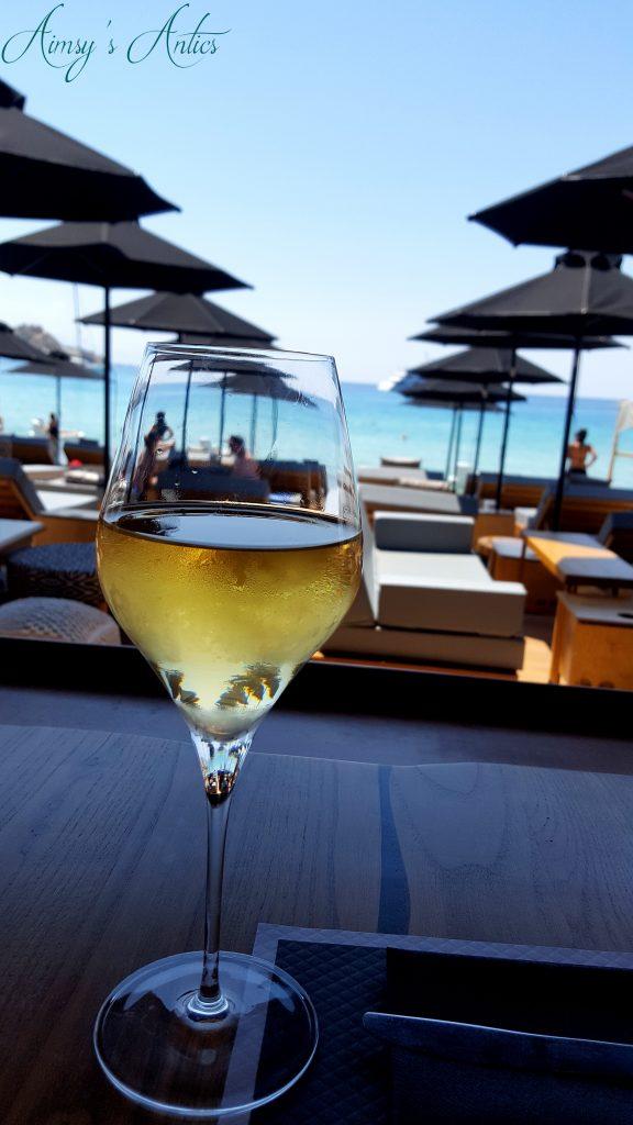 Wine at Platis Gialos Beach, Mykonos