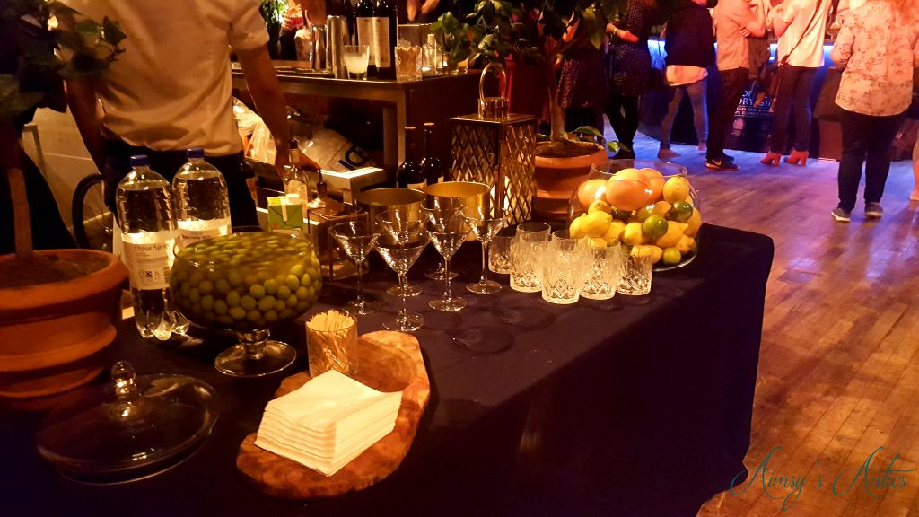 Cocktail table with glasses and fruit decoration at Leeds Town hall at the cocktails in the city event