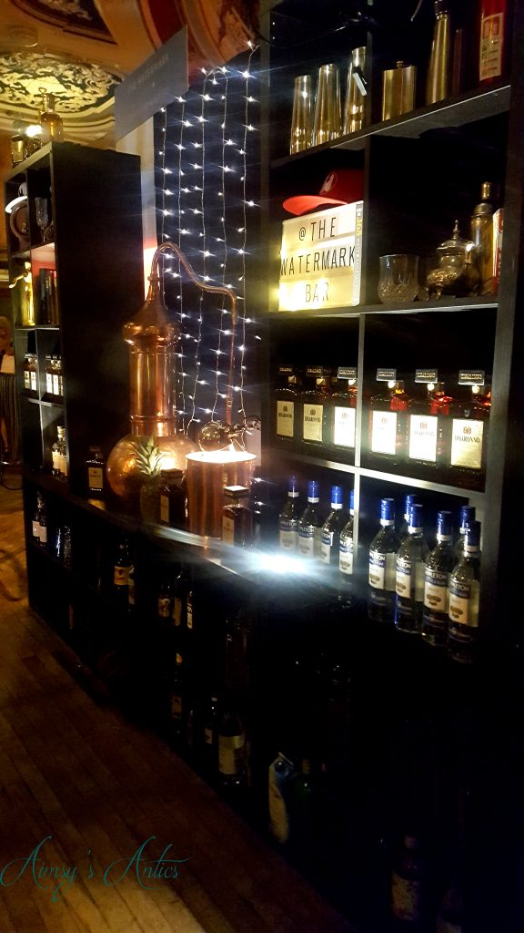 Bottles of Alcohol on a shelf at the Leeds Town hall at the cocktails in the city event