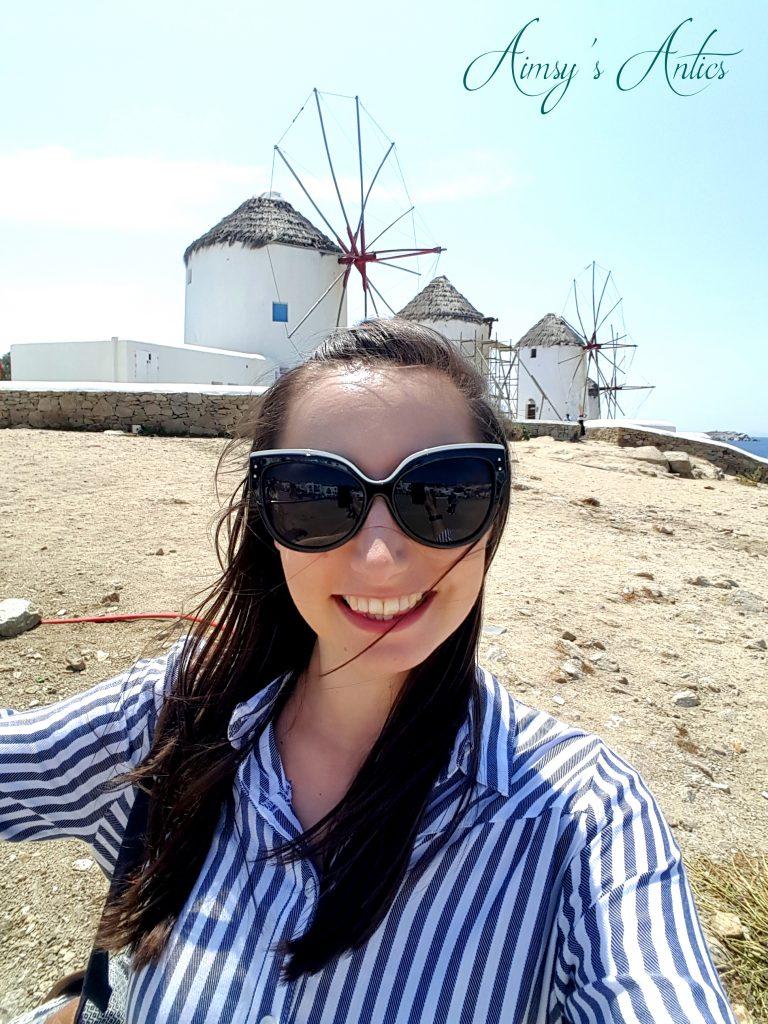 Selfie in front of windmills in Mykonos