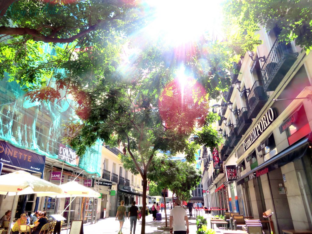 Madrid street with multi coloured awnings and tress