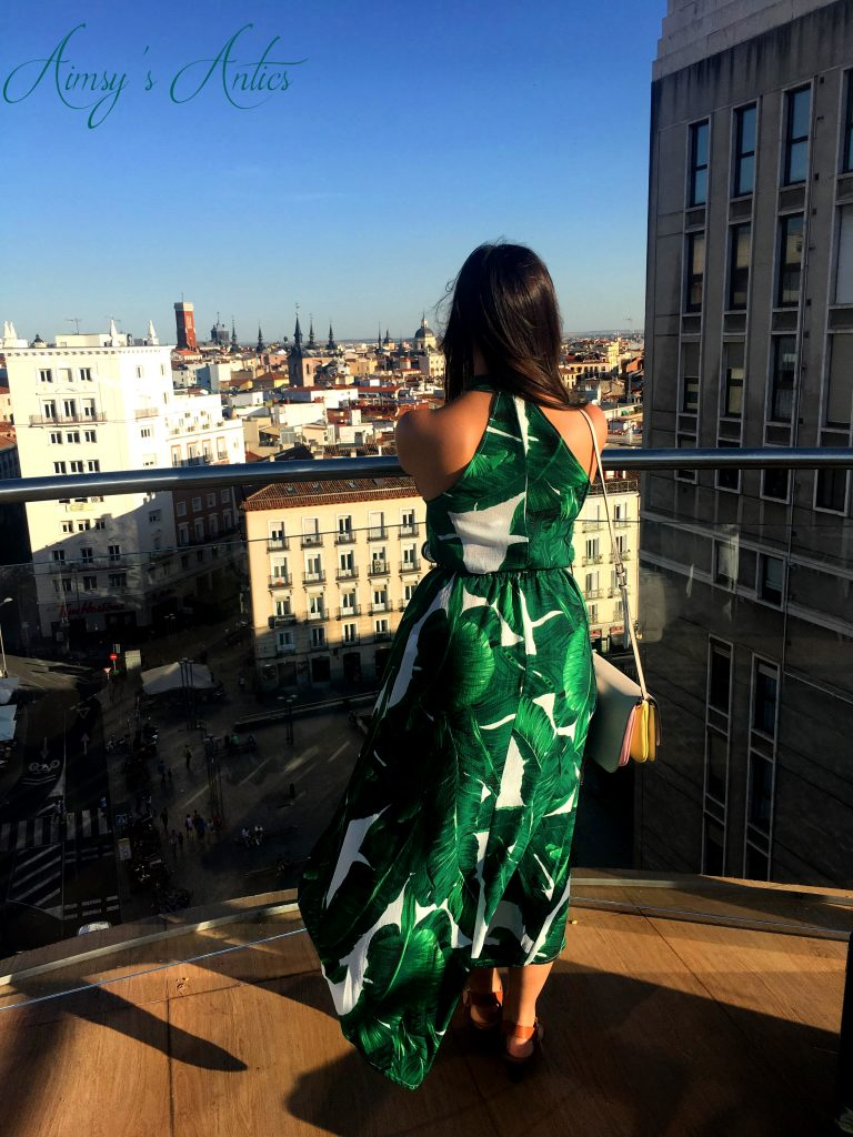 Girl stood on rooftop terrace at Hotel Santo Domingo, Madrid