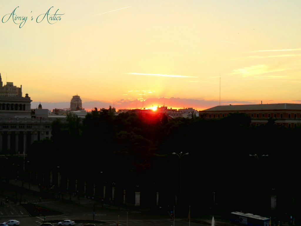 View of the sunset from Terrace Cibeles Madrid